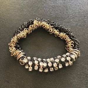 Jewelry - GOLD & BLACK STRETCH BRACELET WITH GEMSTONES